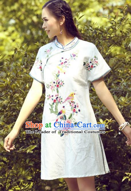 Traditional China National Costume Tang Suit White Qipao Dress Chinese Embroidered Peony Cheongsam for Women