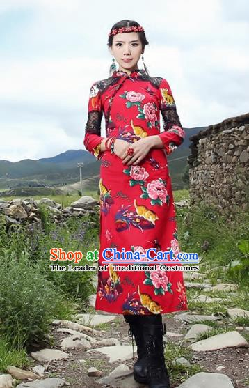 Traditional China National Costume Tang Suit Red Qipao Dress Chinese Embroidered Cheongsam for Women