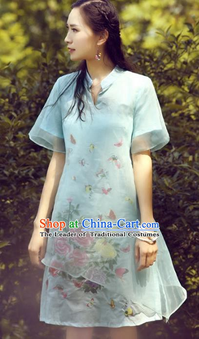 Traditional China National Costume Printing Peony Butterfly Cheongsam Dress Chinese Tang Suit Qipao for Women