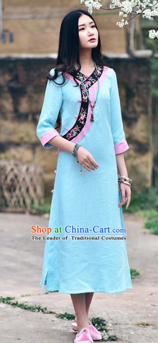 Traditional China National Costume Tang Suit Cheongsam Chinese Embroidered Blue Qipao Dress for Women