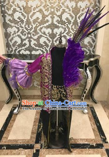 Top Grade Children Stage Performance Costume Catwalks Feather Purple Clothing for Kids