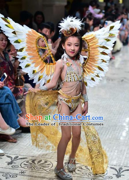 Top Grade Children Stage Performance Costume Catwalks Swimwear Bikini with Feather Wings for Kids