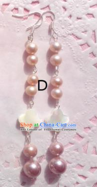 Traditional Chinese Ancient Jewellery Accessories Earrings Pink Pearls Eardrop for Women