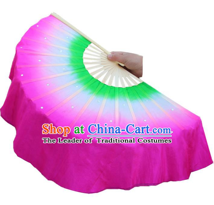 Top Grade Chinese Folk Dance Folding Fans Dance Fans Yangko Rosy Silk Fans for Women