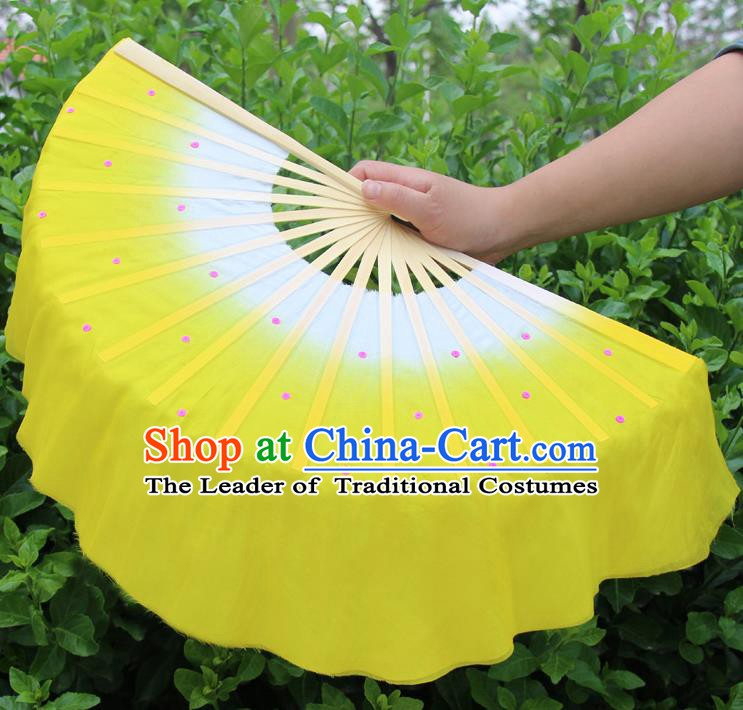 Top Grade Chinese Folk Dance Folding Fans Dance Fans Yangko Yellow Silk Fans for Women