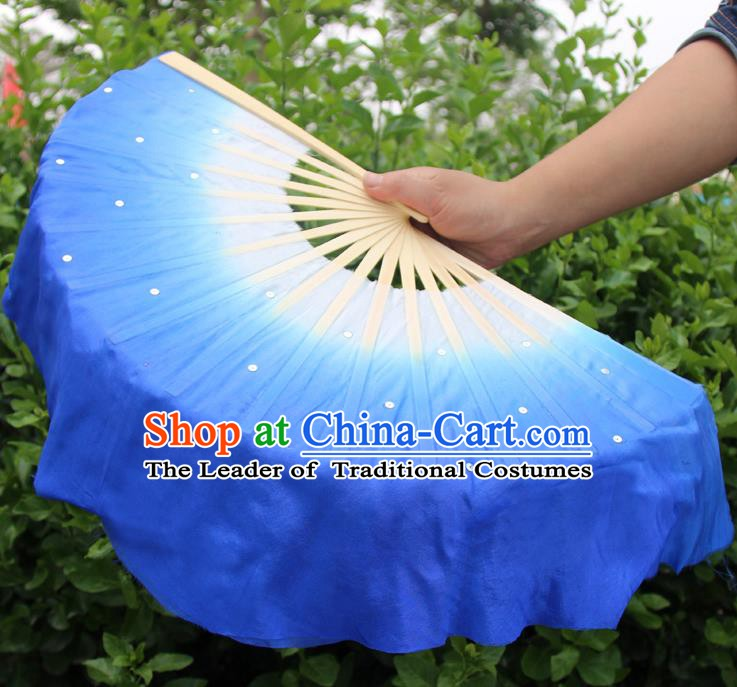 Top Grade Chinese Folk Dance Folding Fans Dance Fans Yangko Deep Blue Silk Fans for Women