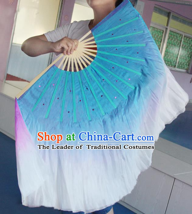 Top Grade Chinese Folk Dance Folding Fans Dance Fans Yangko Double Side Silk Fans for Women