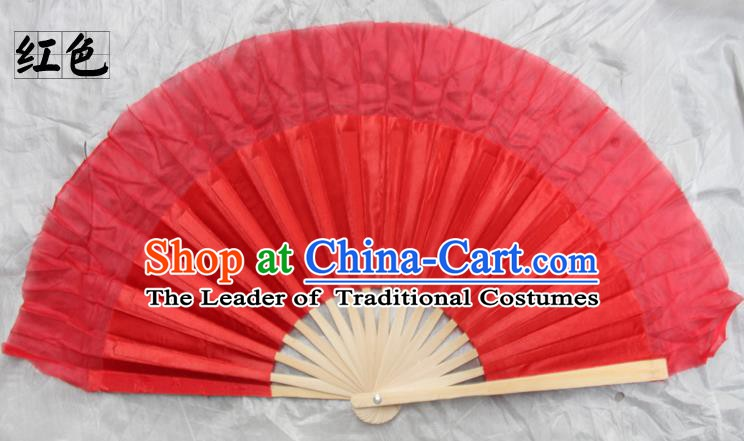 Top Grade Chinese Folk Dance Folding Fans Yangko Dance Red Silk Fan for Women