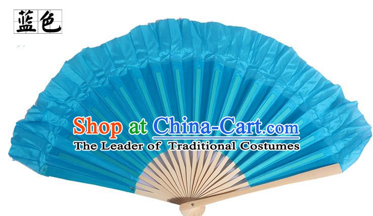 Top Grade Chinese Folk Dance Folding Fans Yangko Dance Blue Silk Fan for Women