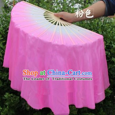 Top Grade Chinese Folk Dance Folding Fans Yangko Dance Pink Silk Ribbon Fan for Women