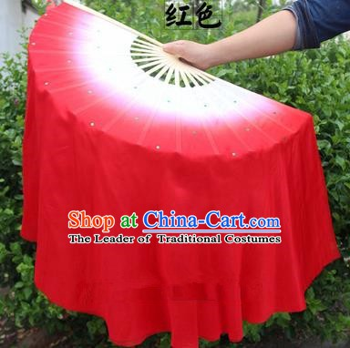 Top Grade Chinese Folk Dance Folding Fans Yangko Dance Red Silk Ribbon Fan for Women