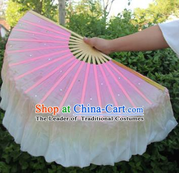 Top Grade Chinese Folk Dance Gradient Pink Folding Fans Yangko Dance Silk Ribbon Fan for Women