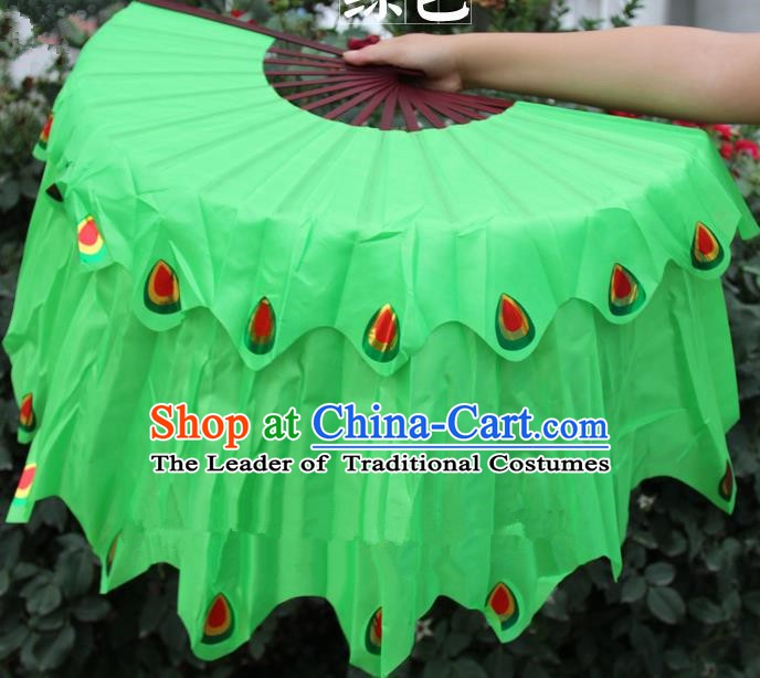 Chinese Handmade Folk Dance Peacock Folding Fans Yangko Dance Green Silk Ribbon Fan for Women