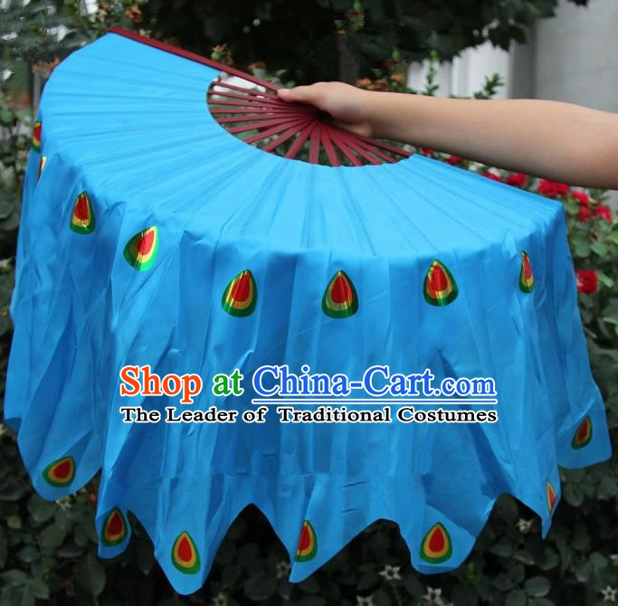 Chinese Handmade Folk Dance Peacock Folding Fans Yangko Dance Blue Silk Ribbon Fan for Women