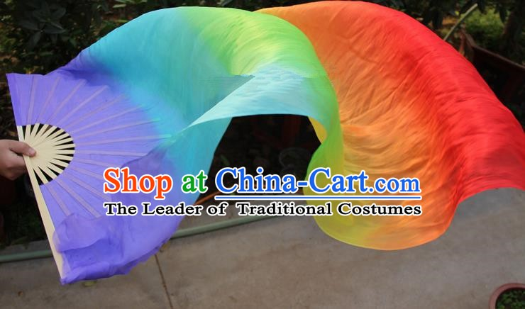 Chinese Handmade Folk Dance Purple Folding Fans Yangko Dance Colorful Silk Ribbon Fan for Women