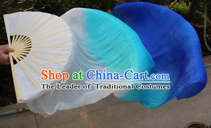 Chinese Handmade Folk Dance Folding Fans Yangko Dance Gradient Blue Silk Ribbon Fan for Women