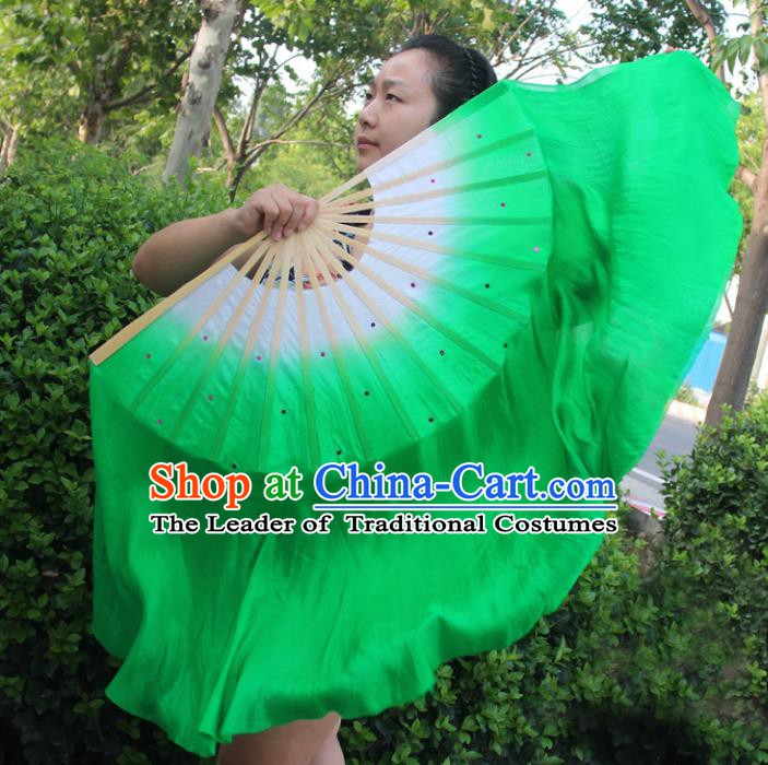 Chinese Handmade Folk Dance Ribbons Folding Fans Yangko Dance Classical Dance Green Fans for Women