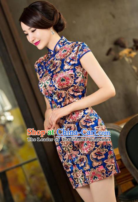 Chinese Traditional Elegant Short Cheongsam National Costume Silk Qipao Dress for Women