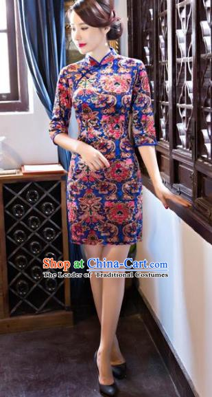 Chinese Traditional Elegant Short Blue Cheongsam National Costume Silk Qipao Dress for Women