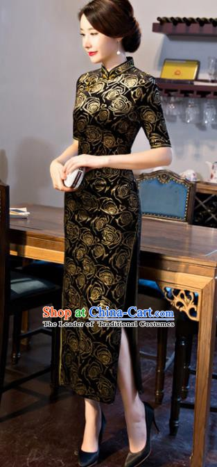 Chinese Traditional Elegant Pattern Rose Black Cheongsam National Costume Silk Qipao Dress for Women