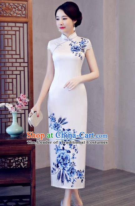 Chinese Traditional Printing Peony Elegant White Cheongsam National Costume Silk Qipao Dress for Women