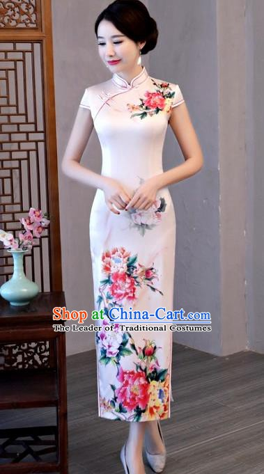 Chinese Traditional Pink Elegant Cheongsam National Costume Printing Peony Silk Qipao Dress for Women