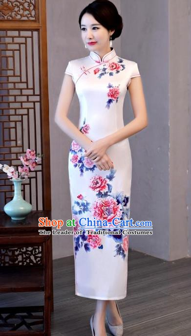 Chinese Traditional White Elegant Cheongsam National Costume Printing Peony Silk Qipao Dress for Women