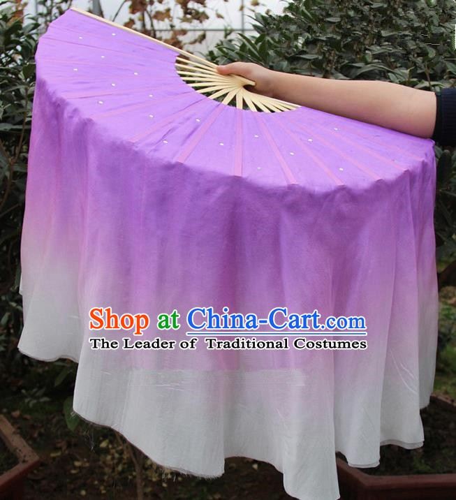 Chinese Handmade Folk Dance Lilac Ribbons Folding Fans Yangko Dance Classical Dance Fans for Women