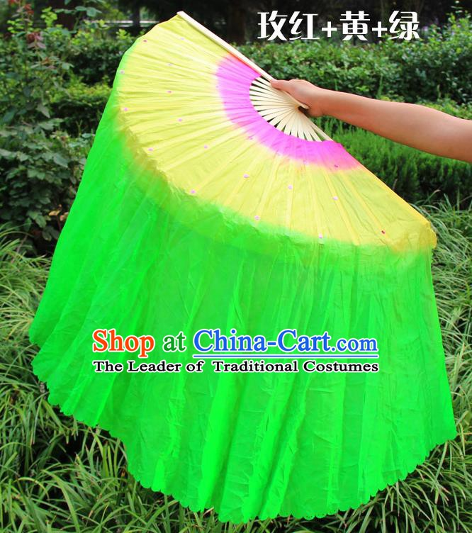 Chinese Handmade Folk Dance Green Ribbon Folding Fans Yangko Dance Classical Dance Fans for Women