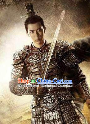 Ancient Chinese Han Dynasty Military Officer General Li Gan Replica Costume for Men