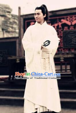 Ancient Chinese Han Dynasty Minister Counsellor Zhang Liang Replica Costume for Men