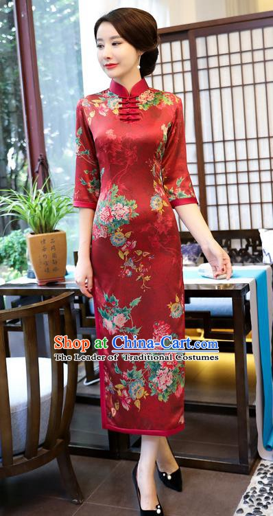 Chinese Traditional Elegant Wedding Cheongsam National Costume Watered Gauze Red Qipao Dress for Women