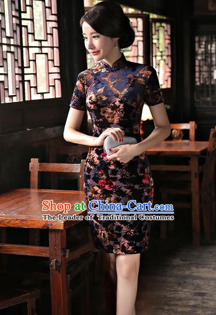 Chinese Traditional Elegant Velvet Cheongsam National Costume Short Qipao Dress for Women