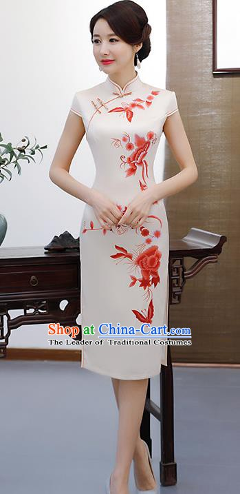 Chinese Traditional Elegant Retro Cheongsam National Costume Printing Red Peony Qipao Dress for Women