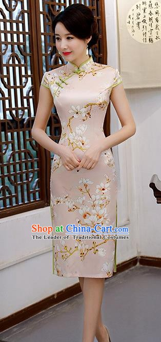 Chinese Traditional Elegant Retro Cheongsam National Costume Printing Mangnolia Qipao Dress for Women