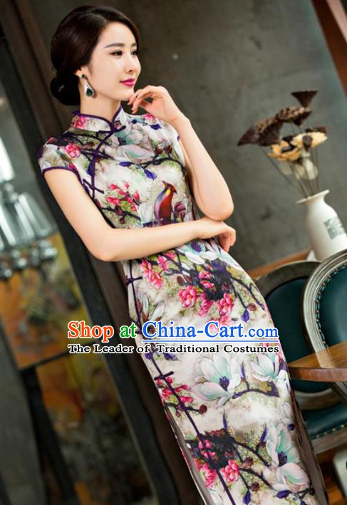 Chinese Traditional Elegant Retro Cheongsam National Costume Printing Mangnolia Birds Qipao Dress for Women