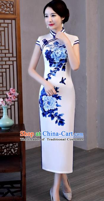 Chinese Traditional Elegant Cheongsam National Costume Printing Peony Silk Qipao Dress for Women