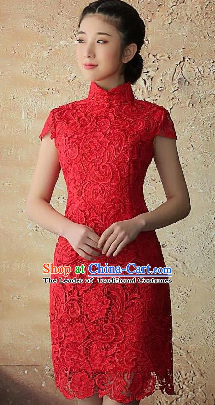 Chinese Traditional Elegant Retro Red Lace Cheongsam National Costume Qipao Dress for Women