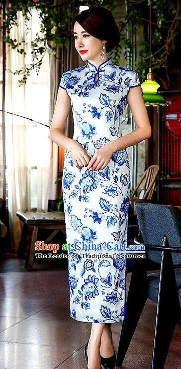 Chinese Traditional Elegant Long Cheongsam National Costume Slim Qipao Dress for Women
