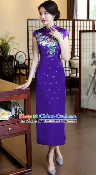 Chinese Traditional Elegant Purple Silk Cheongsam National Costume Printing Qipao Dress for Women