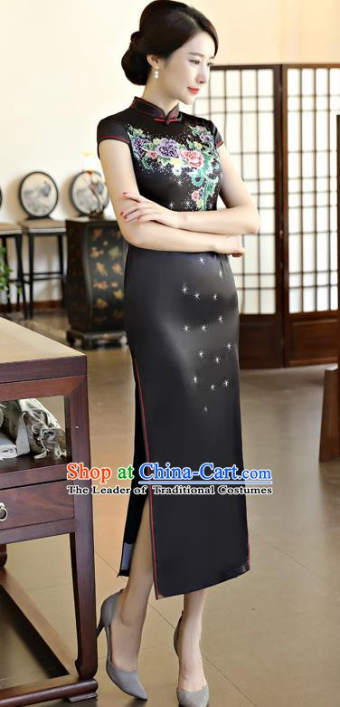 Chinese Traditional Elegant Black Silk Cheongsam National Costume Printing Qipao Dress for Women