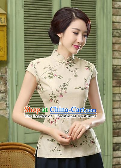 Chinese Traditional Elegant Printing Cheongsam Blouse National Costume Tang Suit Qipao Shirts for Women