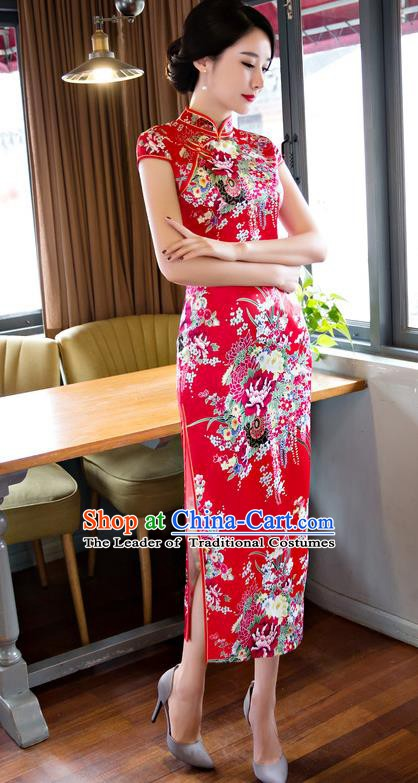 Chinese Traditional Elegant Printing Flowers Red Cheongsam National Costume Retro Qipao Dress for Women