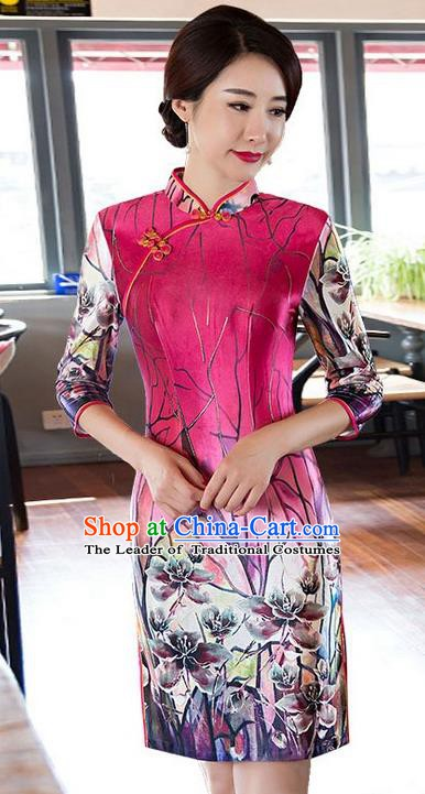 Top Grade Chinese National Costume Elegant Slim Cheongsam Tang Suit Printing Qipao Dress for Women
