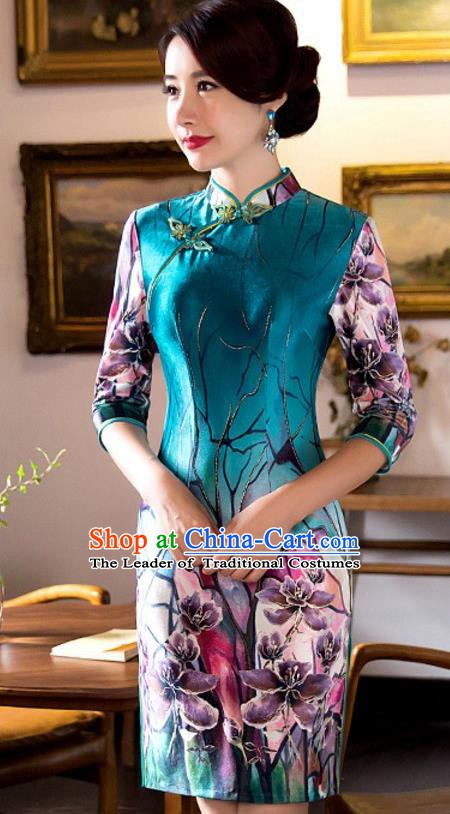 Top Grade Chinese National Costume Elegant Slim Cheongsam Tang Suit Printing Green Qipao Dress for Women