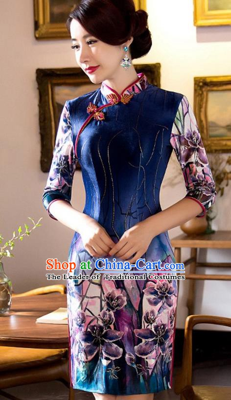 Top Grade Chinese National Costume Elegant Slim Cheongsam Tang Suit Printing Navy Qipao Dress for Women
