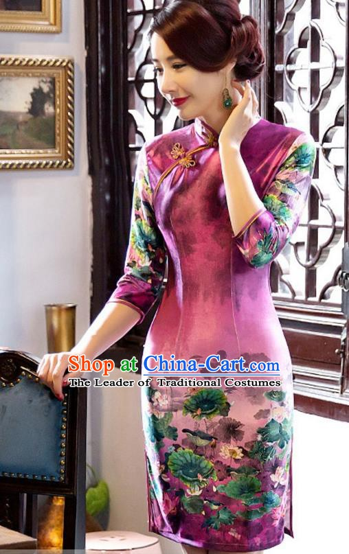 Top Grade Chinese National Costume Elegant Slim Cheongsam Tang Suit Printing Purple Qipao Dress for Women