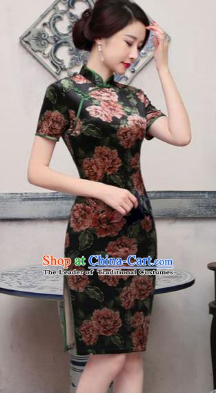 Top Grade Chinese National Costume Elegant Velvet Cheongsam Tang Suit Short Qipao Dress for Women