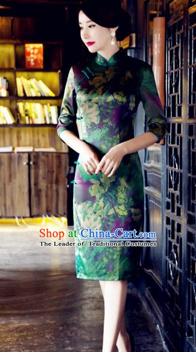 Top Grade Chinese National Costume Tang Suit Short Green Qipao Dress Elegant Printing Cheongsam for Women