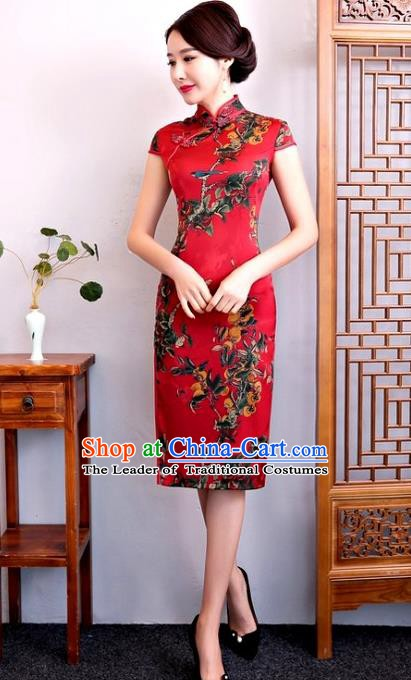 Chinese Traditional Elegant Silk Cheongsam Red Full Dress National Costume Retro Printing Qipao for Women